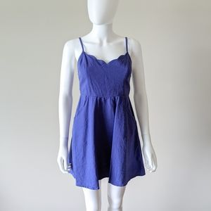 Urban Outfitters Scallop Neckline Blue Dress